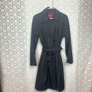 Cole Haan Black Belted Trench Rain Buttons Coat